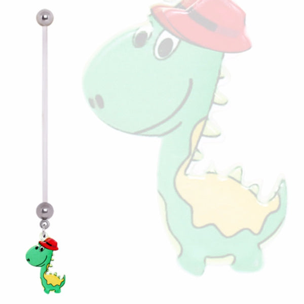 316L Surgical Steel Green Dinosaur with Fedora Navel Ring-WildKlass Jewelry