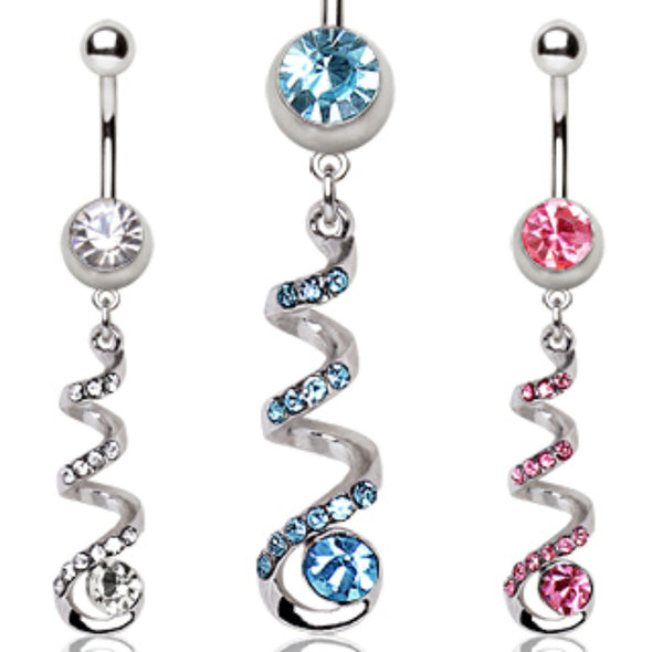 316L Surgical Steel Coiled CZ Navel Ring-WildKlass Jewelry