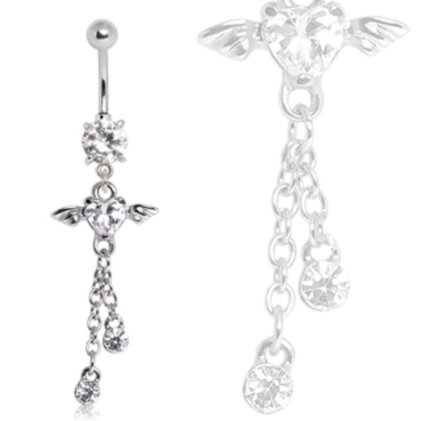 316L Surgical Steel Winged Heart Dangle Navel Ring-WildKlass Jewelry