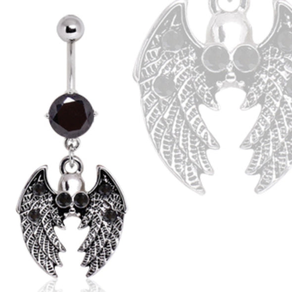 316L Surgical Steel Gothic Winged Skull Navel Ring-WildKlass Jewelry
