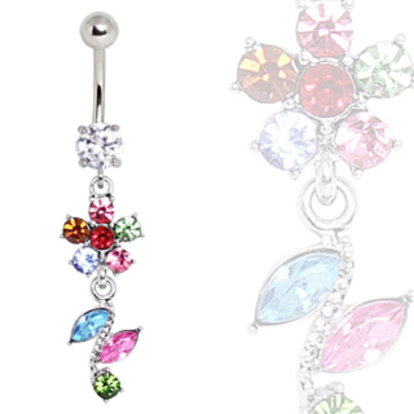 316L Surgical Steel Multi-Color Flower & Leaves Navel Ring-WildKlass Jewelry