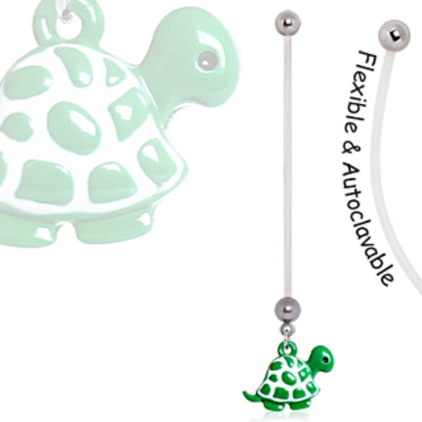 BioFlex Green Baby Turtle Pregnancy Navel Ring-WildKlass Jewelry
