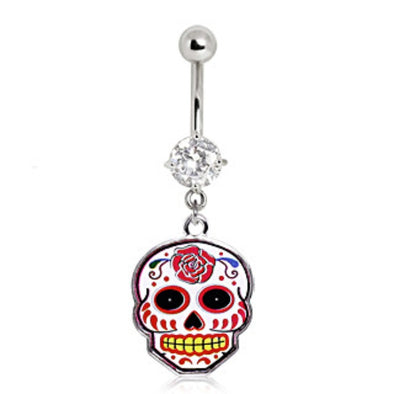 316L Surgical Steel Rose Sugar Skull Navel Ring-WildKlass Jewelry