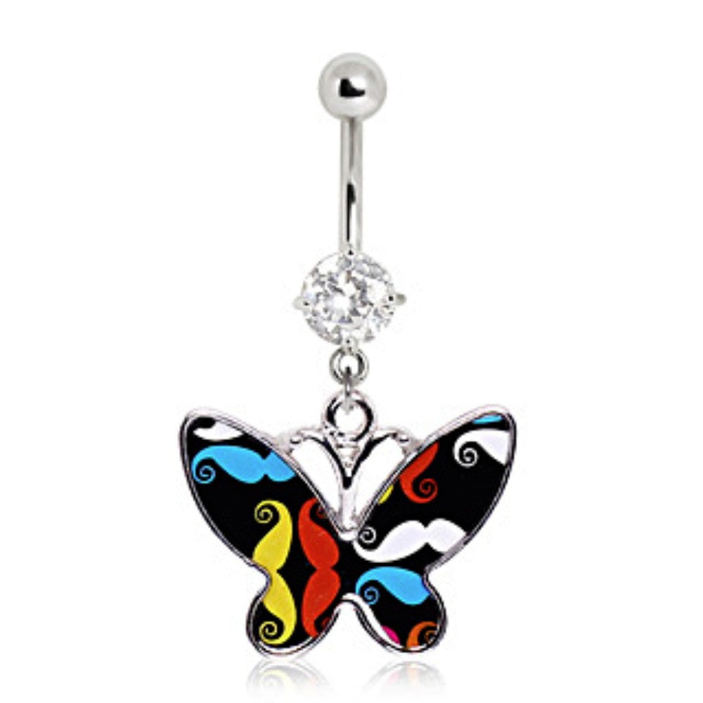 316l Surgical Steel Mustache Butterfly Navel Ring