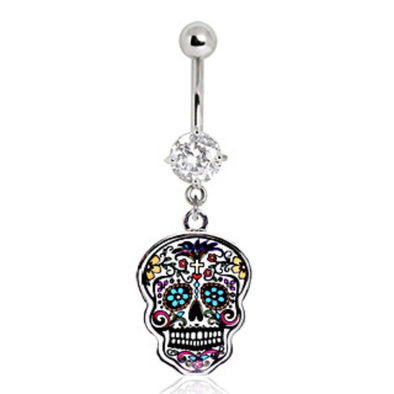 316L Surgical Steel Floral Sugar Skull Navel Ring-WildKlass Jewelry