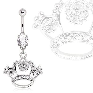316L Surgical Steel Navel Ring with Princess Crown Dangle Filigree-WildKlass Jewelry