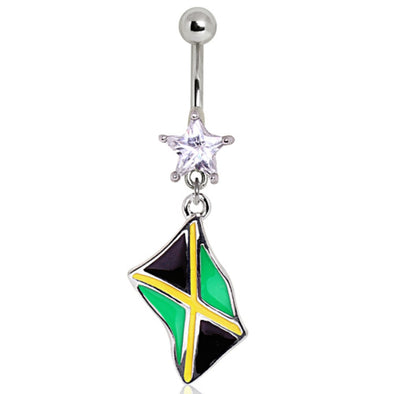 316L Surgical Steel Jamaican Flag Navel Ring-WildKlass Jewelry