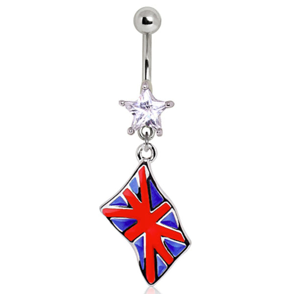 316L Surgical Steel United Kingdom Flag Navel Ring-WildKlass Jewelry