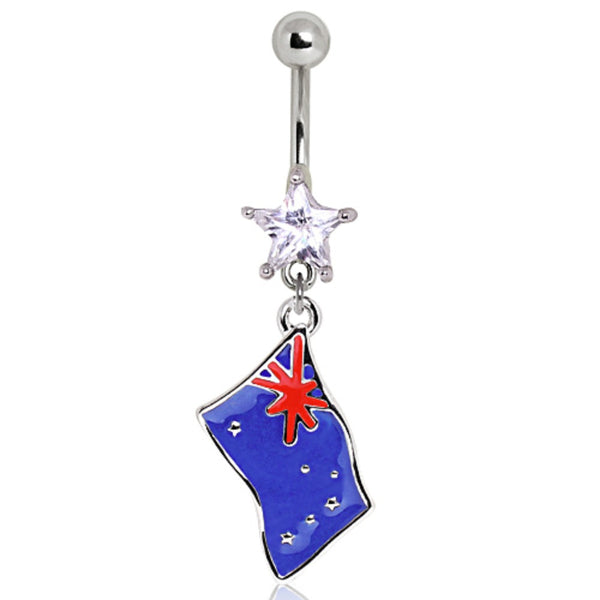 316L Surgical Steel Australia Flag Navel Ring-WildKlass Jewelry