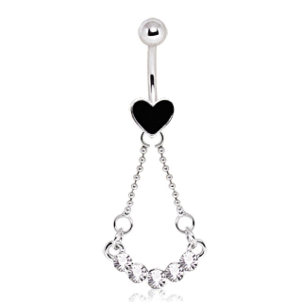 316L Surgical Steel Heart Navel Ring with Five Gems Swing Dangle-WildKlass Jewelry