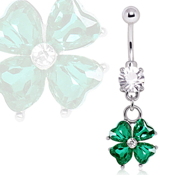 316L Surgical Steel Navel Ring with Four Leaf Clover Dangle-WildKlass Jewelry