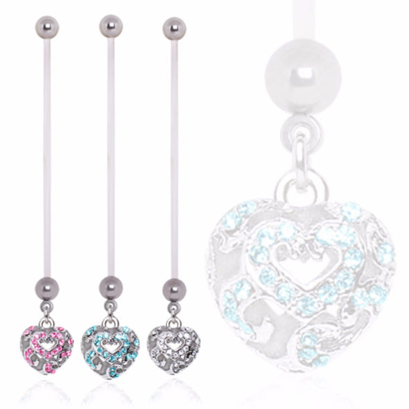 BioFlex Baby Vacant Heart Dangle Pregnancy Navel Ring-WildKlass Jewelry