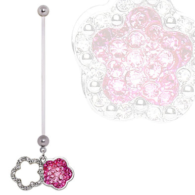 BioFlex Double Layer Flower Dangle Pregnancy Navel Ring-WildKlass Jewelry