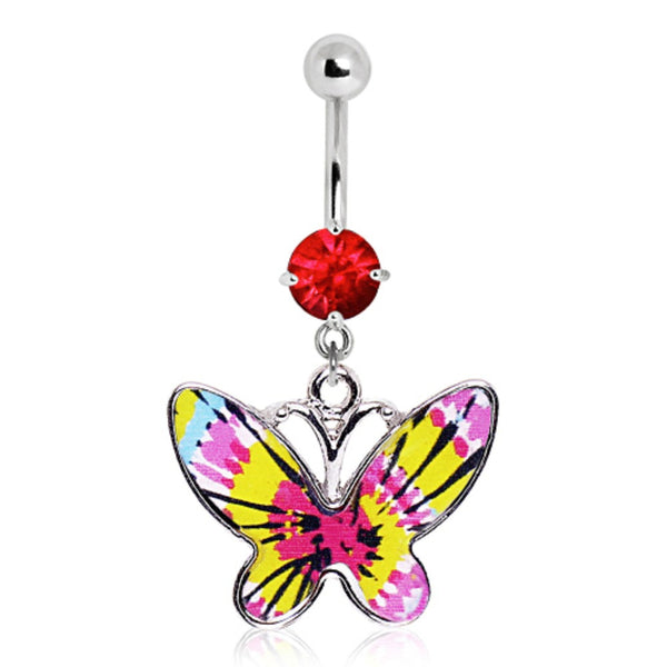 316L Pink Tie-Dye Butterfly Navel Ring-WildKlass Jewelry