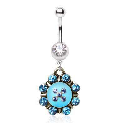 316L Surgical Steel Navel Ring with Turquoise Nautical Sunburst Dangle-WildKlass Jewelry
