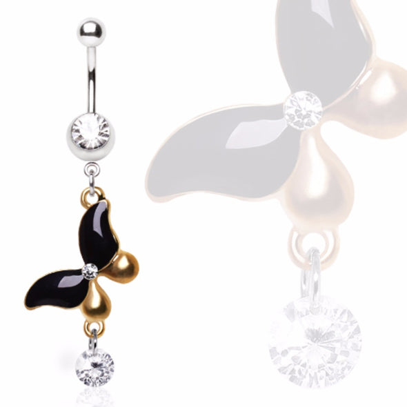316L Surgical Steel Navel Ring with Antique Gold and Black Butterfly with Gem Dangle-WildKlass Jewelry