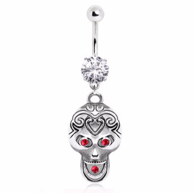 316L Surgical Steel Tribal Skull Navel Ring-WildKlass Jewelry