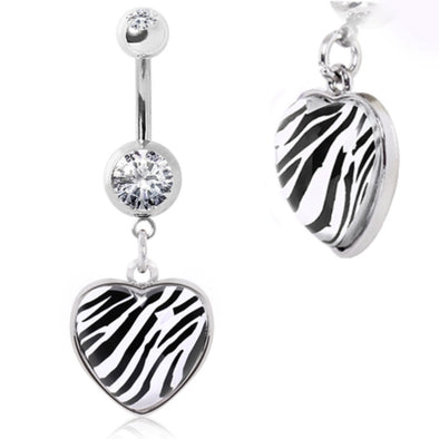 316L Surgical Steel Navel Ring with Zebra Print Rounded Heart Dangle-WildKlass Jewelry