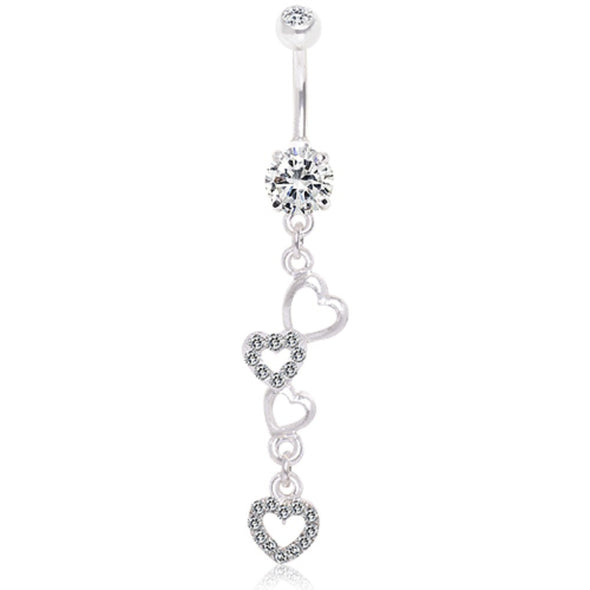 316L Surgical Steel Dangling Hearts Navel Ring-WildKlass Jewelry