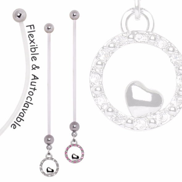 BioFlex Pregnancy Navel Ring with Gemmed Heart and Bubble Dangle-WildKlass Jewelry