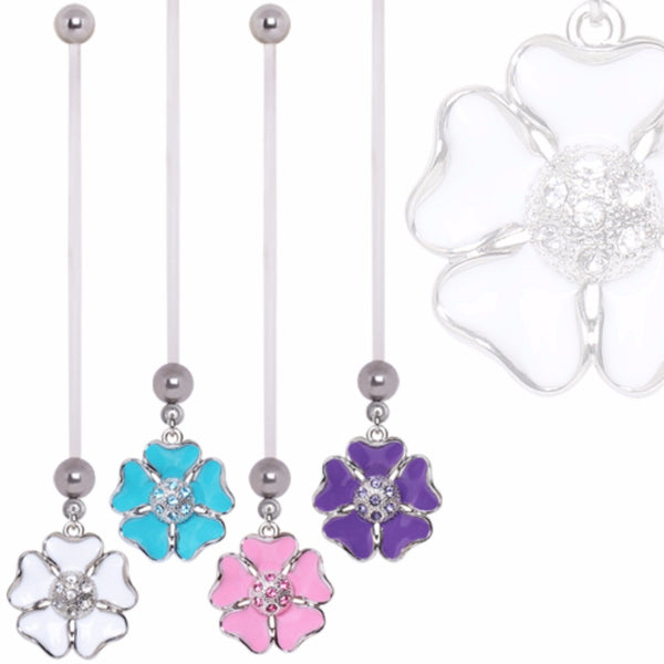 BioFlex Pregnancy Navel Ring with Enameled and CZ Cosmos Flower Dangle-WildKlass Jewelry