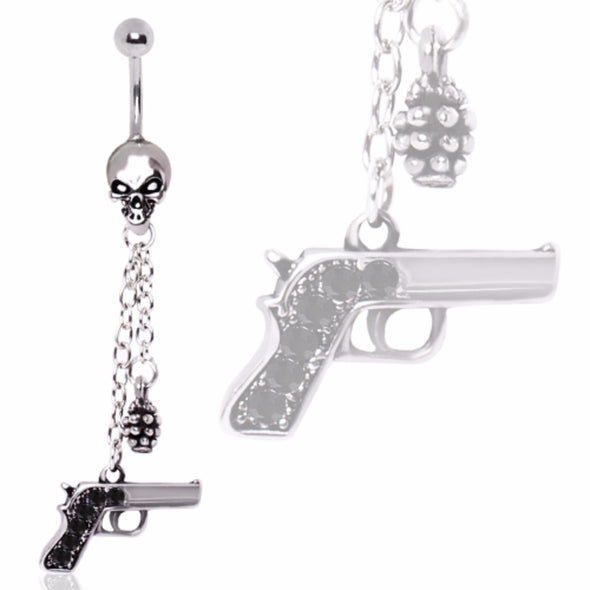 316L Surgical Steel Skull Dangle Belly Ring with Gun and Grenade-WildKlass Jewelry