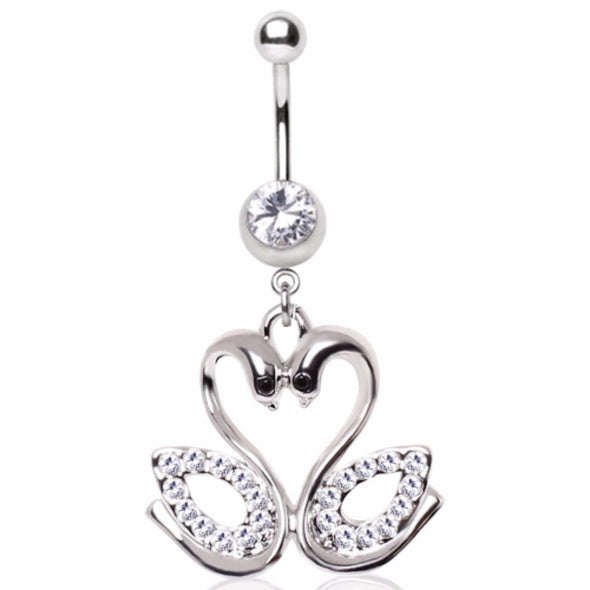 316L Surgical Steel Gemmed Swan Couple Dangle Navel Ring-WildKlass Jewelry