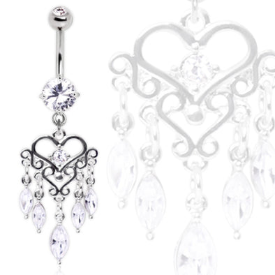 316L Surgical Steel Gemmed Chandelier Heart Dangle Navel Ring-WildKlass Jewelry
