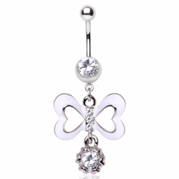 316L Surgical Steel Sweetheart Enamel Bow and Gem Dangle Navel Ring-WildKlass Jewelry