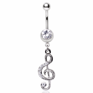 316L Surgical Steel Gemmed Musical Treble Clef Dangle Navel Ring-WildKlass Jewelry