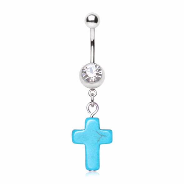 316L Surgical Steel Gemmed Navel Ring with Turquoise Cross Dangle-WildKlass Jewelry