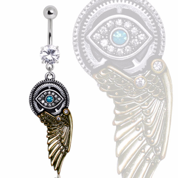 316L Gemmed Steampunk All Seeing Eye Navel Ring with Mechanical Wing Dangle-WildKlass Jewelry