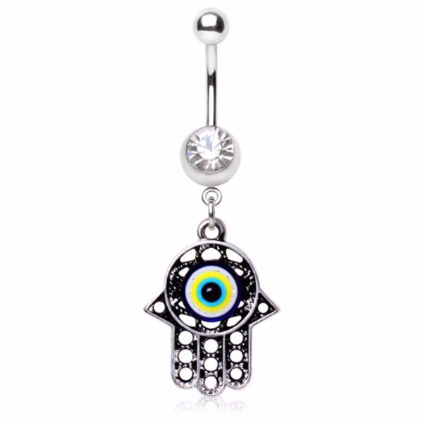 316L Surgical Steel Antique Evil Eye Hamsa Amulet Dangle Navel Ring-WildKlass Jewelry