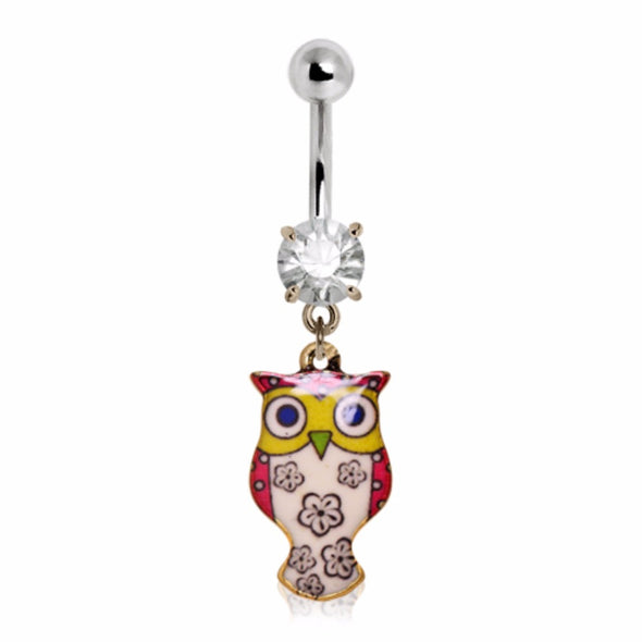 316L Stainless Steel Flower Blossom Owl Navel Ring-WildKlass Jewelry