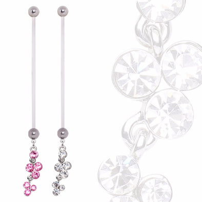 BioFlex Pregnancy Navel Ring with Cascading Multi Gem Dangle-WildKlass Jewelry