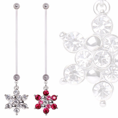 BioFlex Pregnancy Navel Ring with Gemmed Snowflake Dangle-WildKlass Jewelry