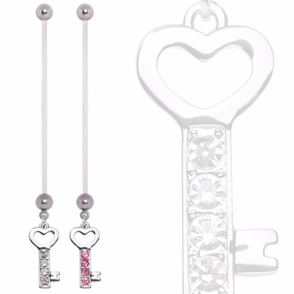 BioFlex Pregnancy Navel Ring with Gemmed Heart Key Dangle-WildKlass Jewelry