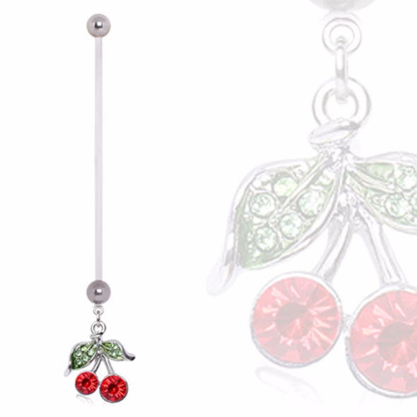 BioFlex Pregnancy Navel Ring with Cherry Dangle-WildKlass Jewelry