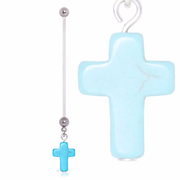 BioFlex Pregnancy Gemmed Navel Ring with Turquoise Cross Dangle-WildKlass Jewelry