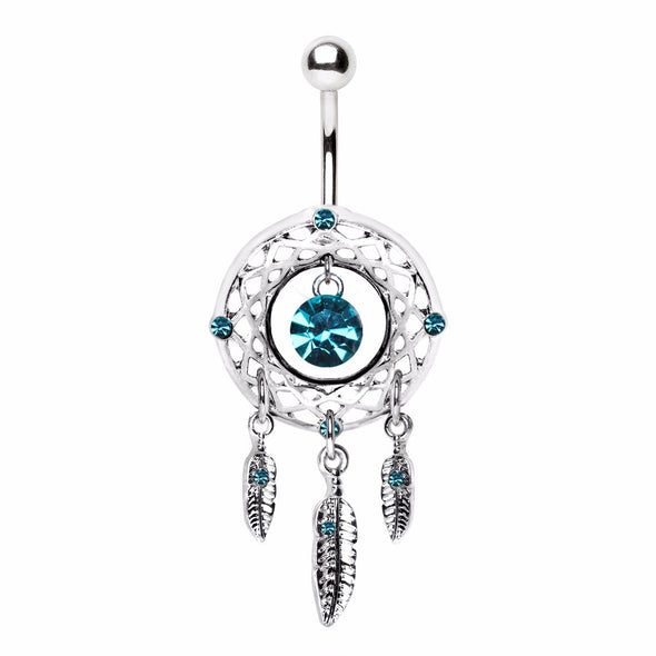 316L Stainless Steel Native Dream Catcher Navel Ring-WildKlass Jewelry