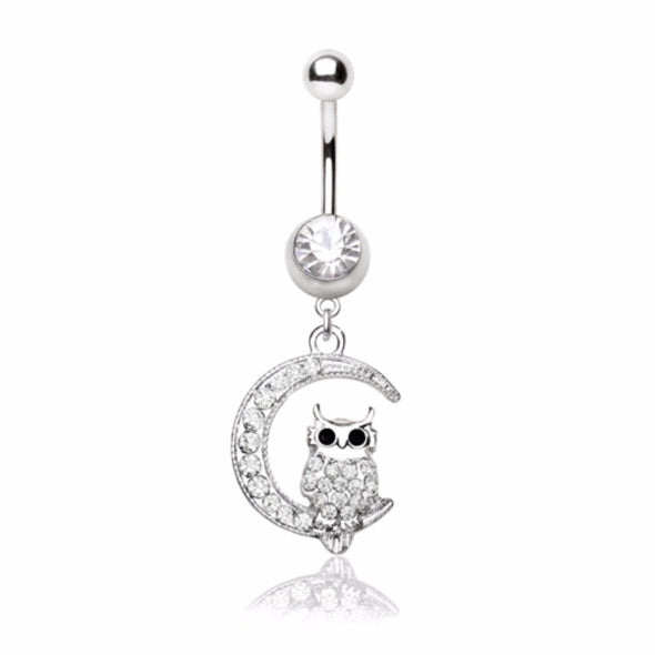 316L Stainless Steel Sparkling Owl on the Moon Navel Ring-WildKlass Jewelry