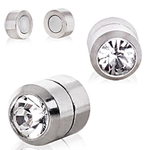 Clear CZ Magnetic Fake Plugs-WildKlass Jewelry
