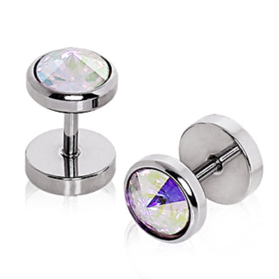316L Surgical Steel Faceted CZ Fake Plug-WildKlass Jewelry