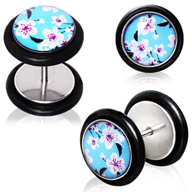 316L Blue Cherry Blossom Fake Plug-WildKlass Jewelry