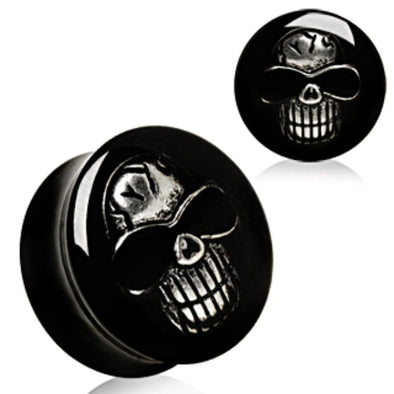 UV Saddle Plug with White 3D Skull-WildKlass Jewelry