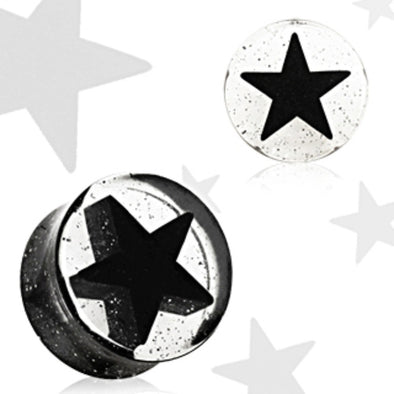 Black UV Acrylic 3D Star Double Flare Glitter Plug-WildKlass Jewelry