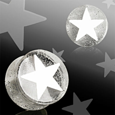 White UV Acrylic 3D Star Double Flare Glitter Plug-WildKlass Jewelry
