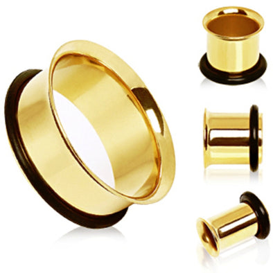 Gold Plated Single Flare Tunnel Plug with O-Ring-WildKlass Jewelry