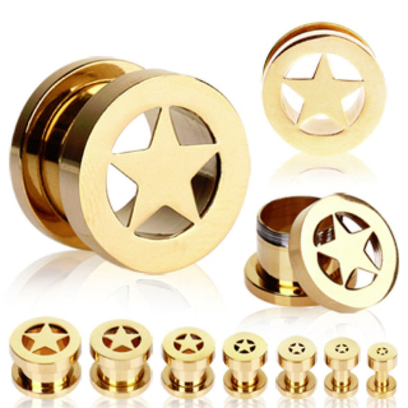 Gold Plated Double Flare Screw Fit Flesh Tunnel Ear Plug with Star-WildKlass Jewelry