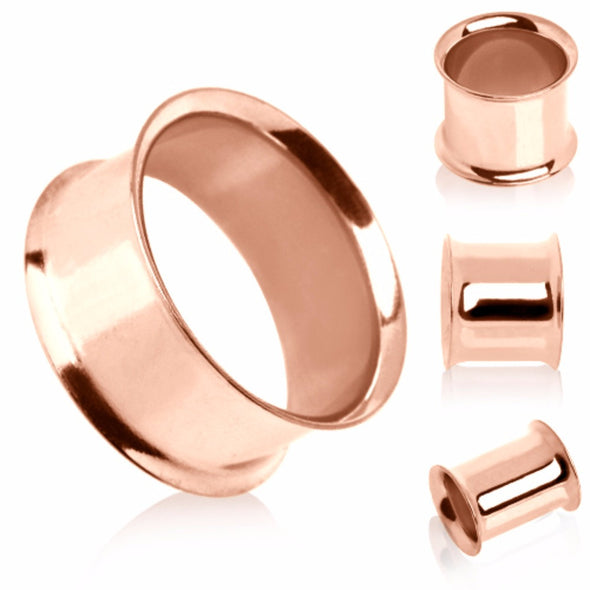 Rose-Gold Plated Double Flare Tunnel Plug-WildKlass Jewelry